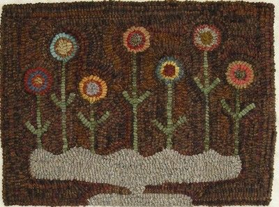 Hand Hooked Rug Early Style Primitive Penny Posies Love A Simple Design
