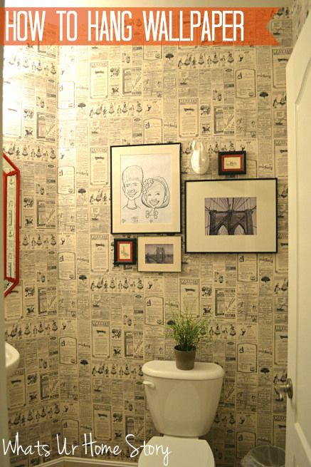 How to hang paste on the wall wallpaper, vintage newspaper wallpaper www.whatsurhomestory.com