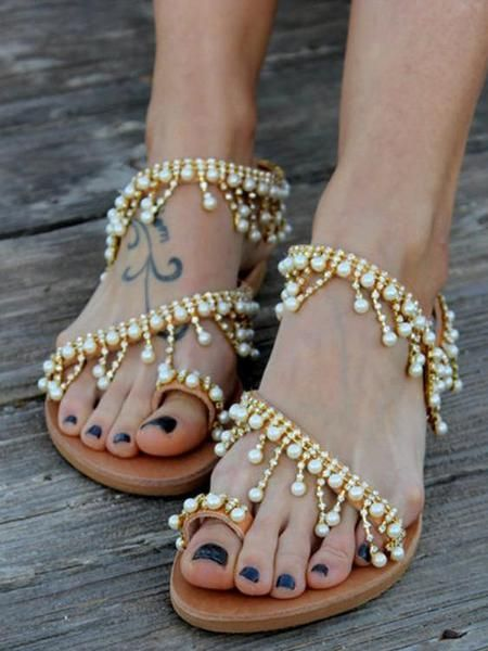 196326cec 2019 的 Pretty Handmade Beach Flat Sandals 主题