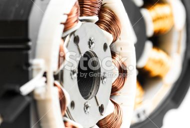 Electric motors stator winding and stack close-up Royalty Free Stock Photo