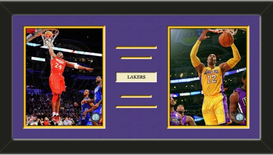 Two framed 8 x 10 inch Los Angeles Lakers photos of Kobi Bryant with a customizable nameplate*, double matted in team colors to 24 x 12 inches.  The lines show the bottom mat color.  $79.99 @ ArtandMore.com