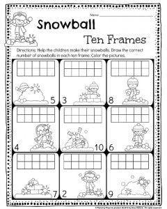 Kinder 10 cuadros hoja de trabajo.  Dibuja el número correcto de bolas de nieve en el marco 10.  #kindergarten # hojas de trabajo