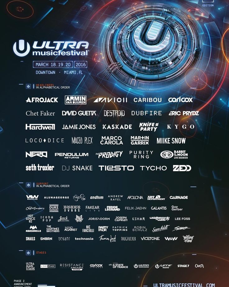 """We are thrilled to announce the first phase of the Ultra Music Festival 2016 lineup!  #Ultra2016"""