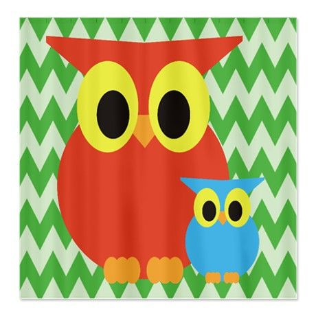 Red Mom/Dad Owl and baby owl on green chevron Show #circusvalley
