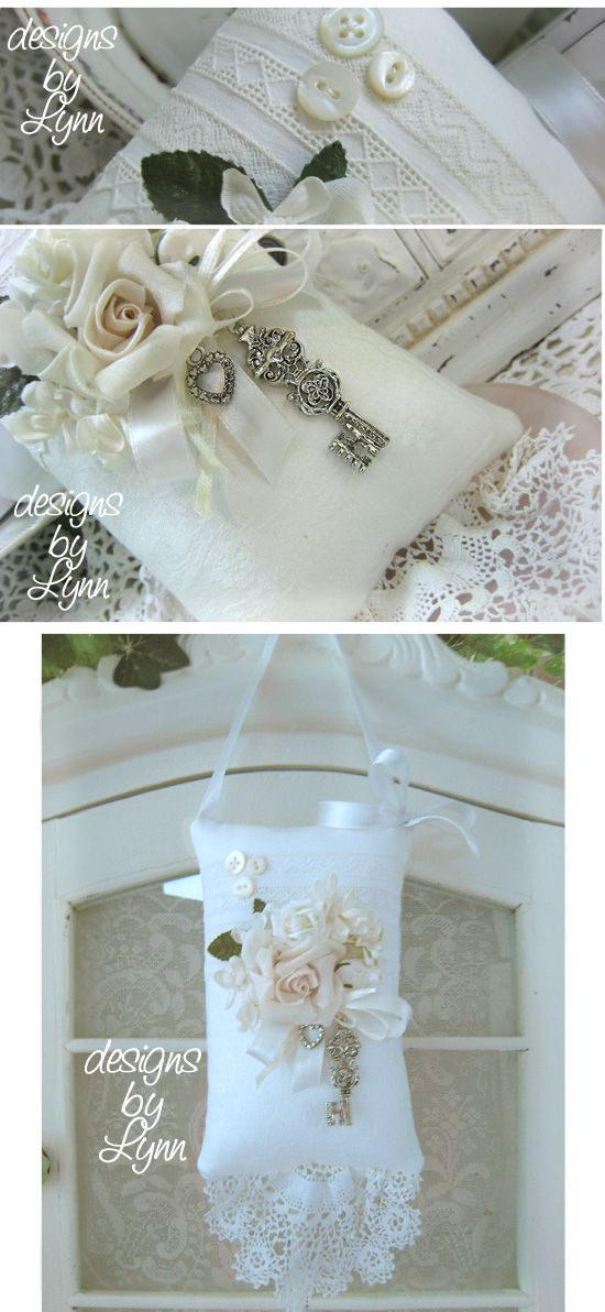 Cottage White Vintage Hanging Sachet Lace Pillow Designs By Lynn-pink, roses, shabby, chic, ruffles, Victorian, Vintage, Lynn, Barkcloth, PINK, cottage, white,