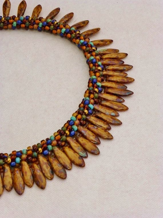 Set  Brown Gold Blue and Turquoise Picasso by GrnEydDesigns, $108.00