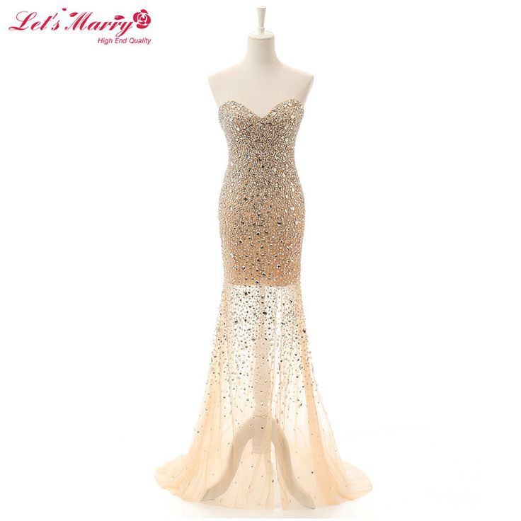 Sexy Luxury Mermaid Sweetheart Beading Sequins Champagne Evening Dresses 2017 Rhinestone Party Celebrity Gowns vestido de festa