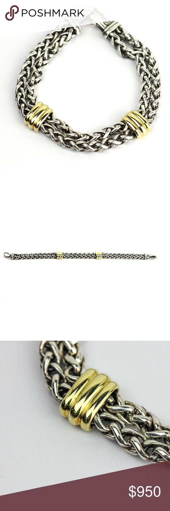 """David Yurman Men's Two Station Chain Bracelet David Yurman double wheat chain bracelet with two gold station from the Men's collection. Large lobster clasp. Size Medium. Width, 10mm. This bracelet fits a wrist up to 7"""". Retired. Guaranteed Authentic.  Previously owned. In excellent condition. Professionally cleaned and polished. All the pictures provided are the actual item for sale.  SIZE: Medium WRIST SIZE: Up to 7 inches WIDTH: 10mm WEIGHT: 42.1 grams David Yurman Accessories Jewelry"""