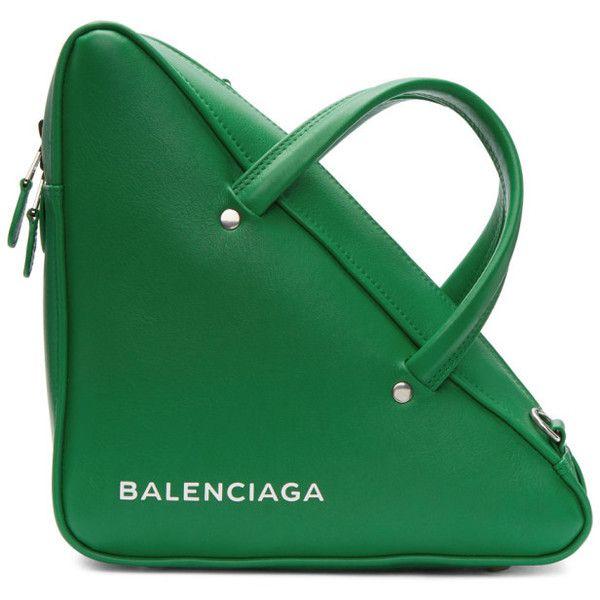 BALENCIAGA Green Small Triangle Aj Bag ($1,545) ❤ liked on Polyvore featuring bags, handbags, balenciaga handbags, triangle bag, triangle purse, green handbags and balenciaga