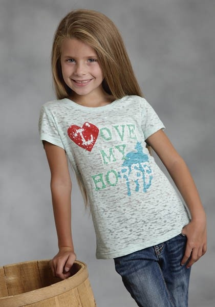 Love my Horse : Girls Graphic Jersey Tee | Free Shippin on Girls Western Wear