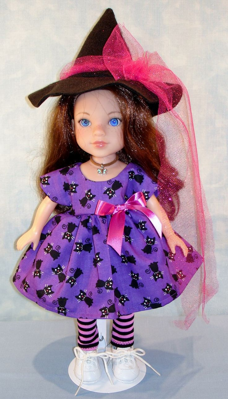 14 Inch Doll Clothes - Black Cats on Purple Halloween Witch Outfit handmade by Jane Ellen by JaneEllen2 on Etsy