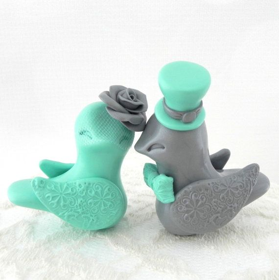 Love Birds Wedding Cake Topper Silver and Mint Green by LavaGifts, $67.00
