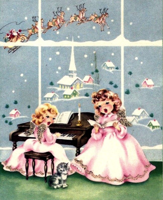 Old Christmas Post Cards —Singing Angels    (649x800):