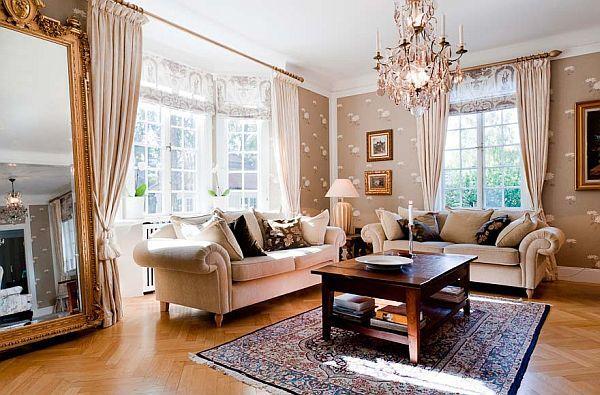 Exotic Villa Interior Design Presents Glamor Nuance: Glamor Living Room With Pendant Lamp