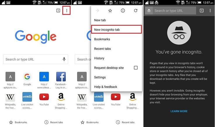 Enable/ Disable or Open Private browsing in android mobile running with…