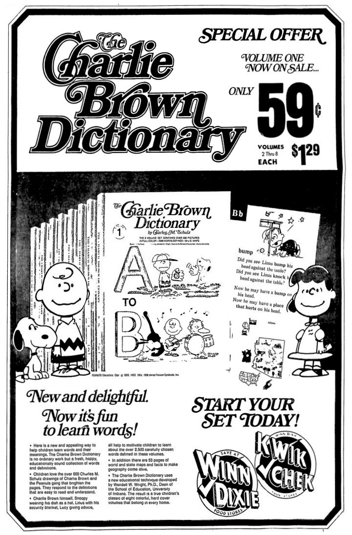 Review of winn dixie free appliances - Charlie Brown Dictionary At Winn Dixie August 1974