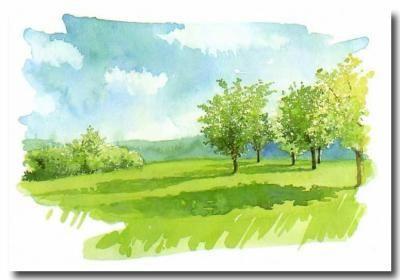 Paysage crayon aquarelle facile google zoeken dessin pinterest crayons et blog - Paysage peinture facile ...