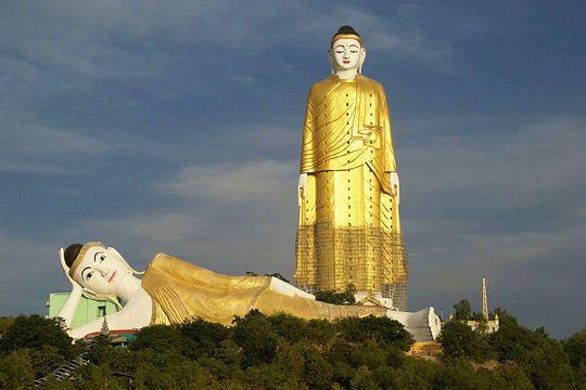 A VISITER Situé dans le village de Taung Khatakan, près de Monywa en Birmanie, le Setkyar Laykyun serait la statue la plus haute du monde. Ce grand bouddha de 116 mètres de hauteur est dressé sur un socle de 13,5 mètres. Sa construction a commencé en 1996 et s'est terminée en 2008. A côté de lui, se trouve une autre statue de Bouddha, cette fois-ci couchée, mais tout aussi impressionnante par ses dimensions !