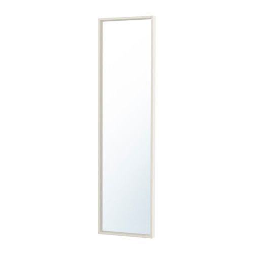 IKEA - NISSEDAL, Mirror, white, , The mirror can be angled if you choose to mount it with the enclosed hinges.Can be hung horizontally or vertically.Safety film  reduces damage if glass is broken.Suitable for use in most rooms, and tested and approved for bathroom use.