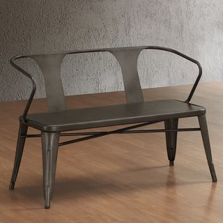 Tabouret Vintage Metal Bench with Back, in love with this vintage industrial style bench