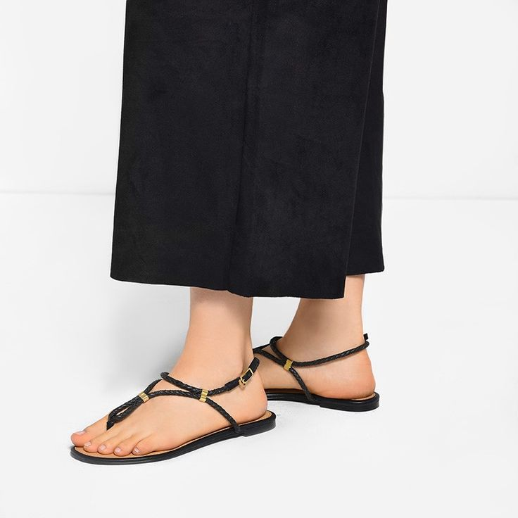 Black Weave Thong Sandals   CHARLES & KEITH