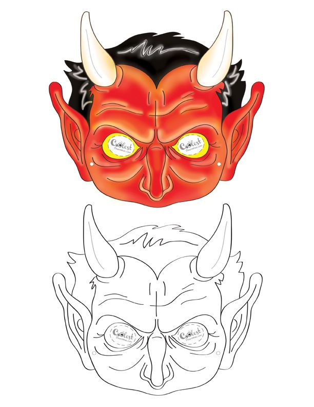 We've created a black and white Devil mask and colored Devil mask, choose your preference. Then cut all around, cut holes for the eyes, and punch a ...