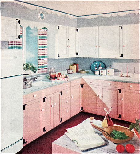 1954 Duco Paint Ad - Kitchen by American Vintage Home, via Flickr the era we love to copy  Shabby Chic Romantic Cottage <3 Pink Kitchen