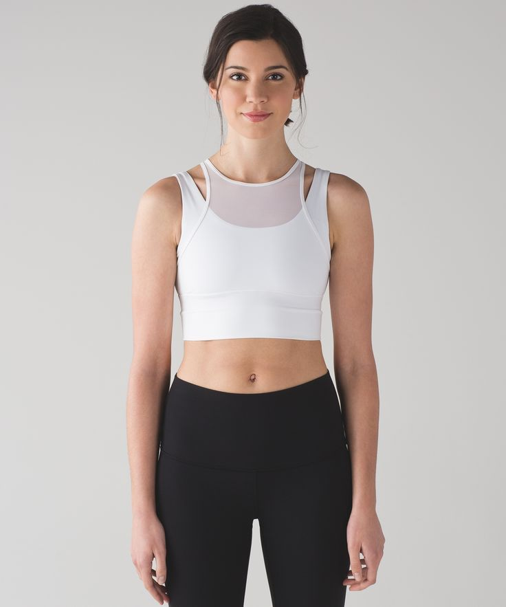 This long-line bra was designed with a Mesh fabric overlay for coverage and ventilation during your studio workouts.