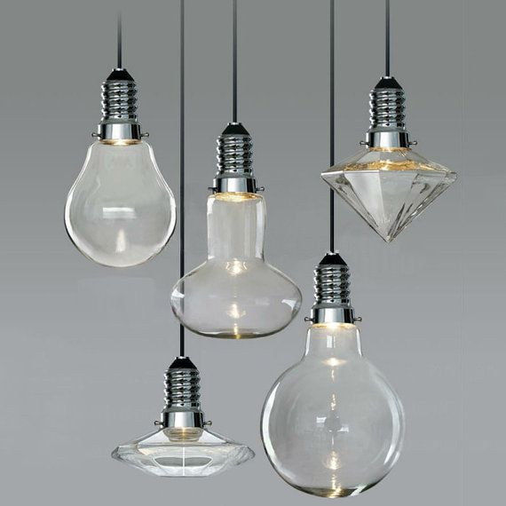 CANCRI Large LED Hanging Pendant Light Bulb by GlassandbrassCo, $120.00