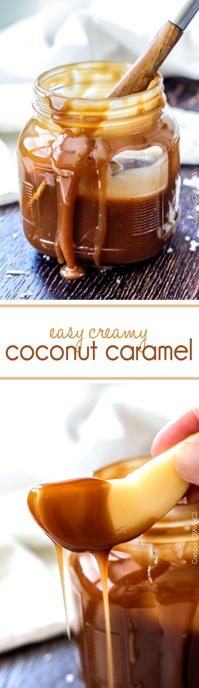 FOOL PROOF Easy Creamy Coconut Caramel Sauce - Rich, creamy, buttery, sweet with an undertone of irresistible coconut and 1,000 TIMES BETTER than any store bought caramel. Makes everything better! via @carlsbadcraving