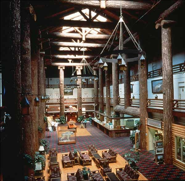 Monster beams in the great lobby of the Glacier Park Lodge