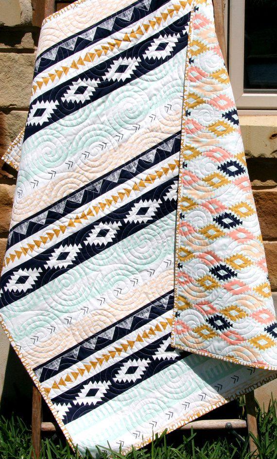 Tribal Baby Quilt, Modern Girl Bedding, Aztec Crib Cot Nursery, Southwest Arizona Art Gallery Fabrics, Coral Mint Green Navy, Girl Blanket Tribal Baby Quilt Modern Girl Bedding Aztec by SunnysideDesigns2