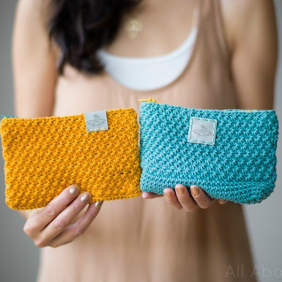 """Crochet these gorgeous """"Star Stitch Pouches"""" with stunning texture to hold your essentials! Full tutorial"""
