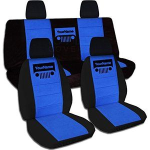 Jeep Wrangler JK (2011 to 2016) Two-Tone Grill Seat Covers w Your Name: Black and Blue - Full Set (21 Colors Available)