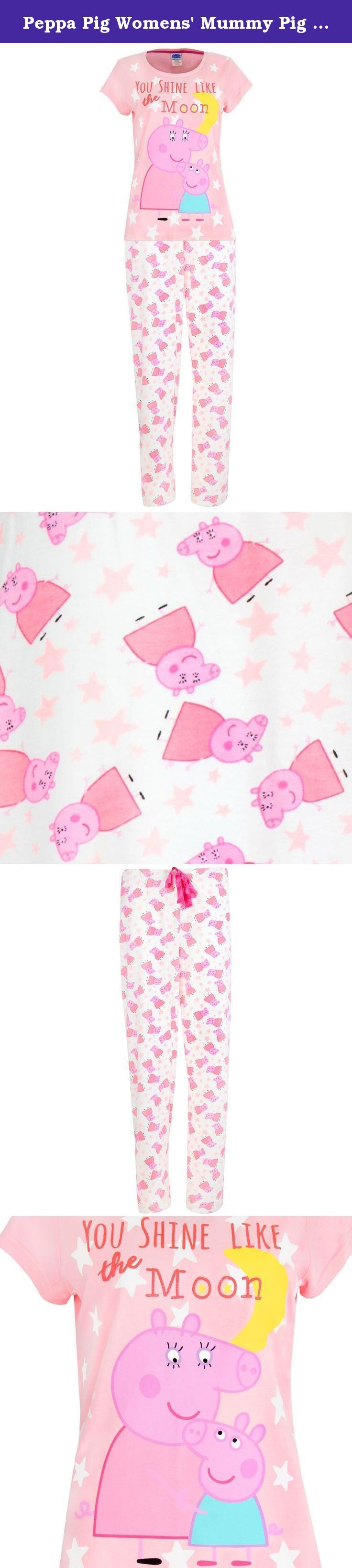 Peppa Pig Womens' Mummy Pig Pajamas - S. Ladies Peppa Pig pajamas. Take some of Peppa's iconic style home with these adorable Mummy Pig PJs! This fun pajama set comes with a short sleeved top complete with a large print of Peppa and Mummy Pig, surrounded by the moon and stars and a glittery slogan 'You shine like the moon'. The matching bottoms have an all-over pattern of Mummy Pug and stars and come with an elasticated waist, making them ideal to relax in and watch everyone's favourite...
