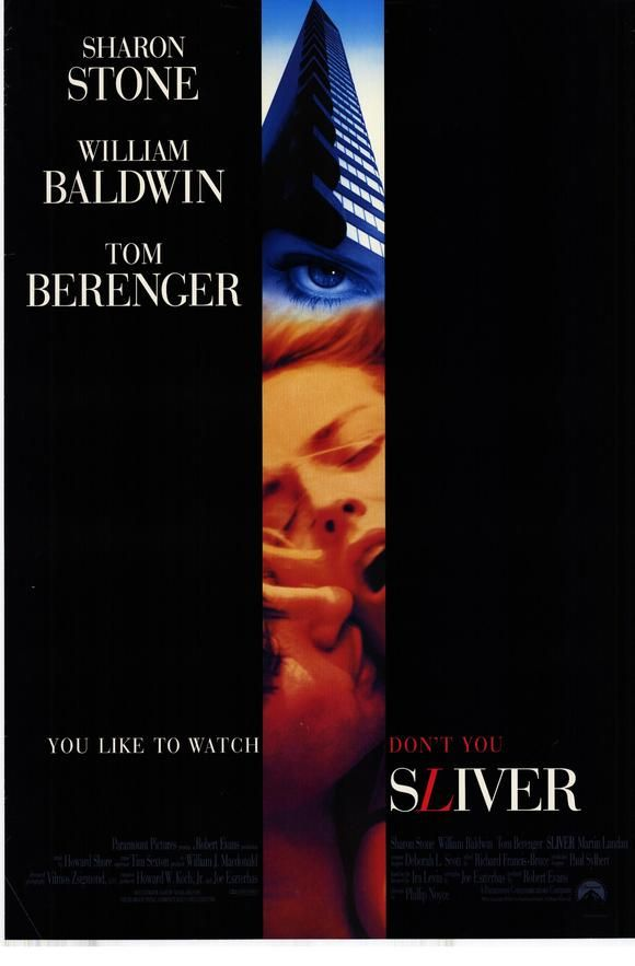 Sliver , starring Sharon Stone, William Baldwin, Tom Berenger, Polly Walker. Carly Norris is a book editor living in New York City who moves into the Sliver apartment building. In the apartment building... #Romance #Thriller