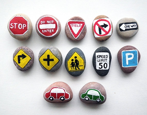 10 Road Signs and 2 Cars with Magnets, Traffic Symbols, Play for Magnetic Chalkboard, Toy Set for Boys, Painted Beach Pebbles, Sea Stones.