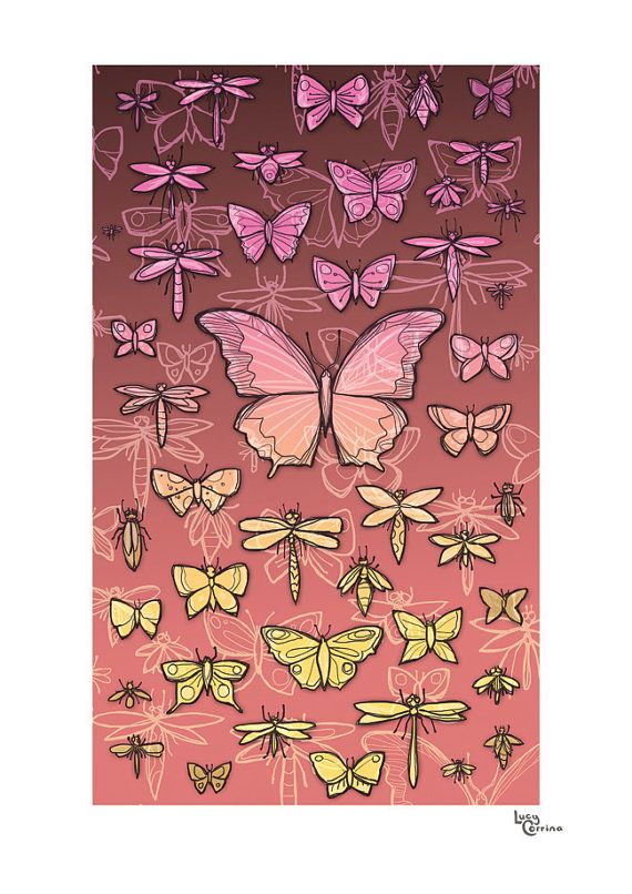 Butterflies and Wings in Pinky Print by lucycorrina on Etsy, $25.00