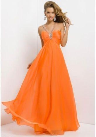 Long Orange Prom Dress
