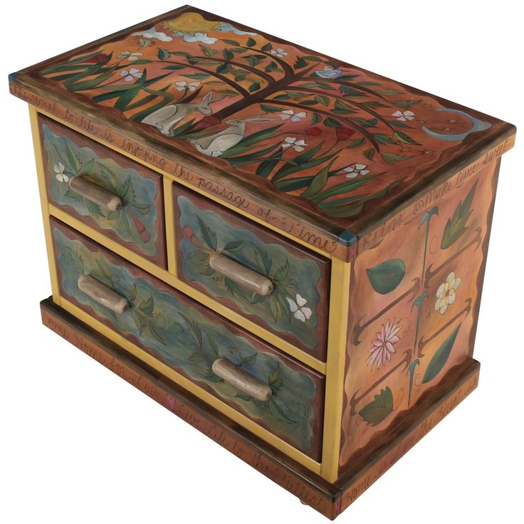 """Sticks creates this artistic one-of-a-kind dresser constructed of hard wood. Hand drawn whimsical designs are burnt in, and then painted. * Size: 22""""D. x 38""""W. x 30""""H. * Signed, Dated Anything you can"""
