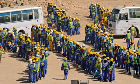Foreign construction workers in Doha, Qatar: Officials said they would abolish the country's 'kafala' sponsorship system – which ties worker...