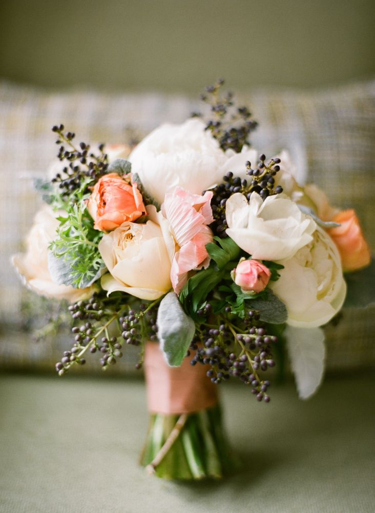 Privet Peony and Anemone Bouquet.What a lovely touch for your bridesmaids to carry for your Country Wedding theme.