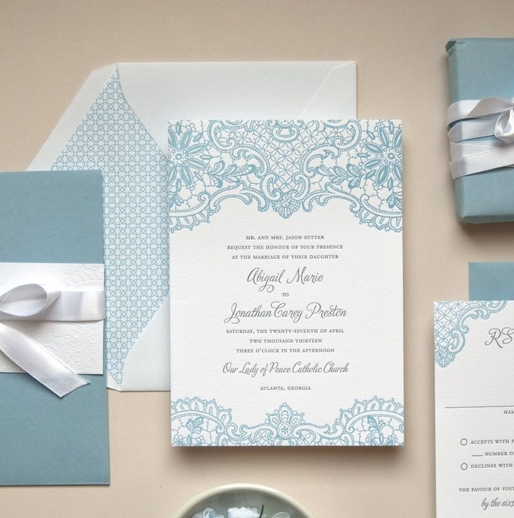 Baby blue lace letterpress