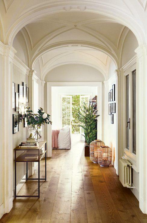 barrel ceiling hallway & wide planked hardwood floors