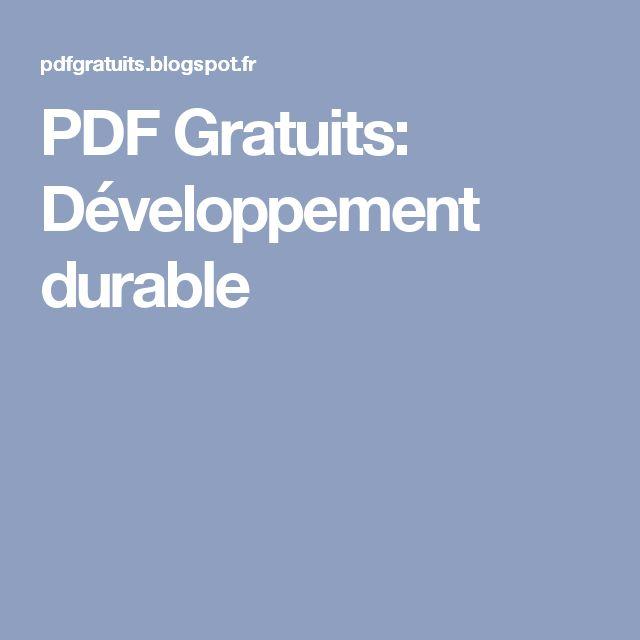 PDF Gratuits: Développement durable