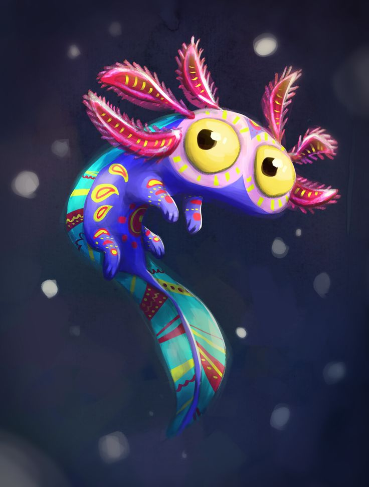 "Illustration made for the CharacterDesignChallenge, on the theme ""Alebrije"". ( Alebrijes are brightly colored Mexican folk art sculptures of creatures. Axolotl, Mexican Artists, Mexican Folk Art, Art Jouet, Character Design Challenge, Art Mignon, Mexico Art, Aztec Art, Creature Concept"
