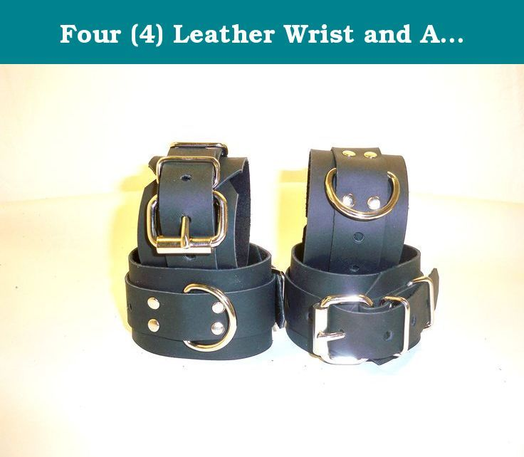 Four (4) Leather Wrist and Ankle Cuffs. BLACK LEATHER SET OF 4 CUFF'S 2 WRIST & 2 ANKLE CUFF'S THIS CUFF SET IS MADE OF REAL 5-8 oz 2 pennies thick 100% COW LEATHER NOT LIKE SOME OF THE CHEAP IMPORTS OR NOVELTY STORE GRADE ITEMS OTHERS ARE OFFERING SIZES WRIST CUFF'S WILL FIT 5.5-10 INCH ANKLE CUFFS WILL FIT 9.5-12 INCH IF YOU NEED A LARGER OR SMALLER SIZE LET US KNOW. WE WILL RESIZE OUR CUFF'S TO FIT YOUR NEEDS AT NO EXTRA CHARGE NO HASSLE AND NO B.S WHY CHOOSE OUR PRODUCTS OVER OTHERS…