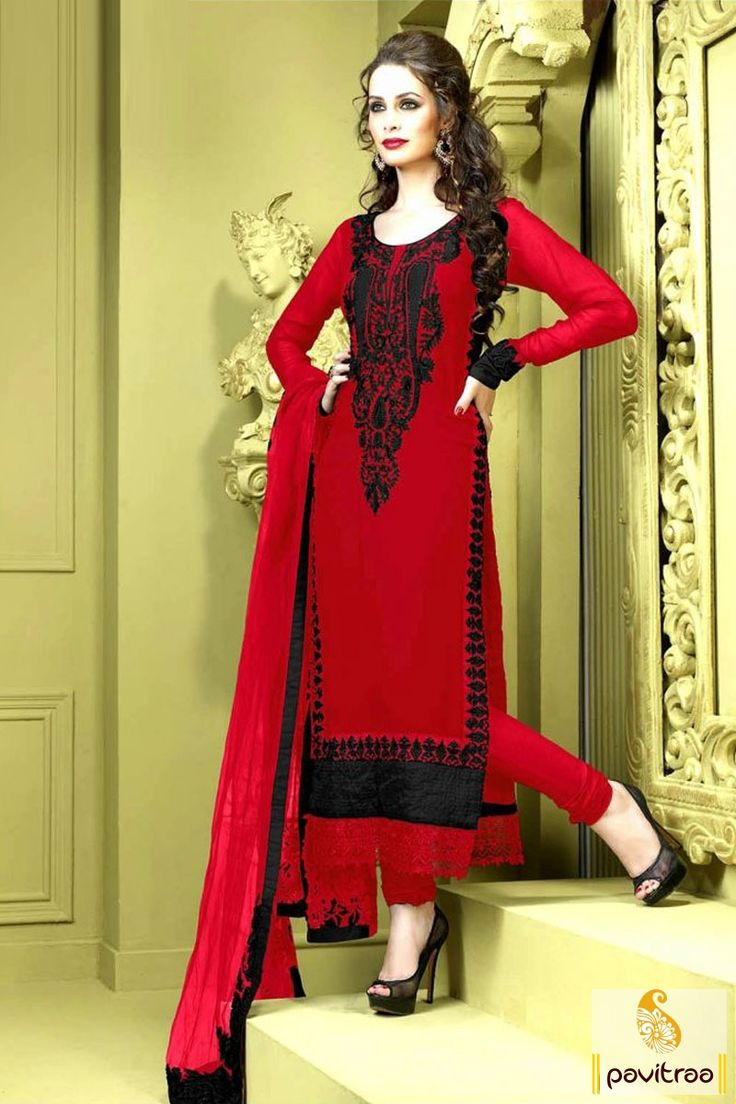 Pavitraa #Red and Black Embroidery #Salwar Kameez