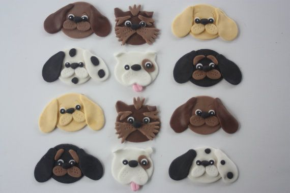 Fondant puppy cupcake toppers.