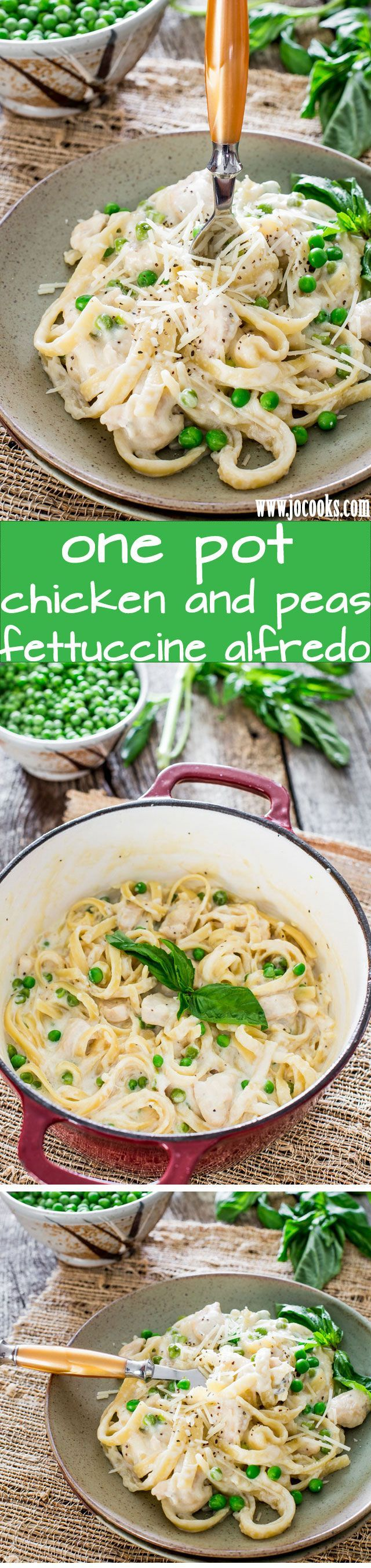 One Pot Chicken and Peas Fettuccine Alfredo - dinner in 30 minutes, it's creamy, it's rich and so cheesy. The beauty of this is that you cook it all in one pot, including the fettuccine.